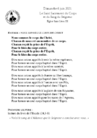 Chants Saint-Léon6 juin 2021Saint-Sacrement